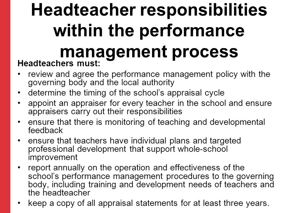 Headteacher responsibilities within the performance management process