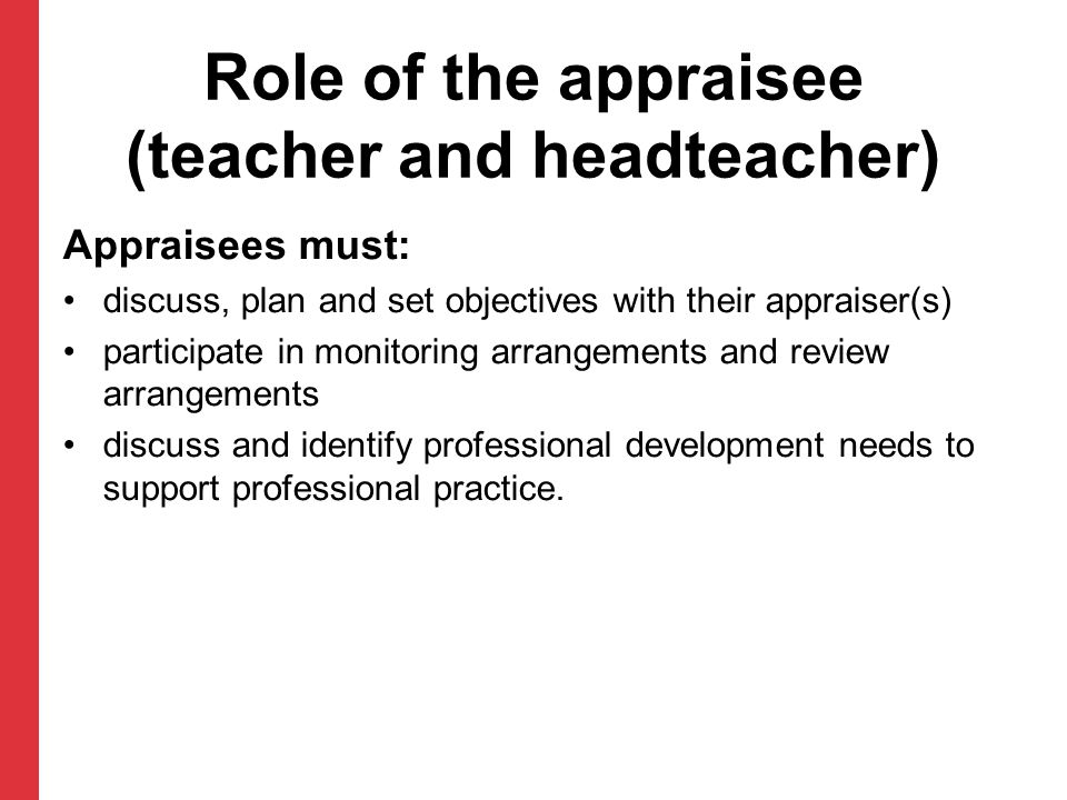 Role of the appraisee (teacher and headteacher)