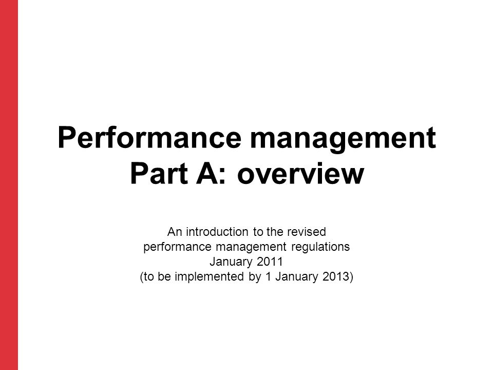 Performance management Part A: overview