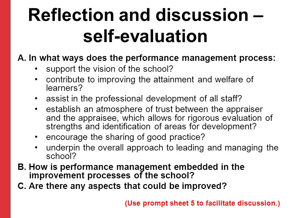Reflection and discussion – self-evaluation