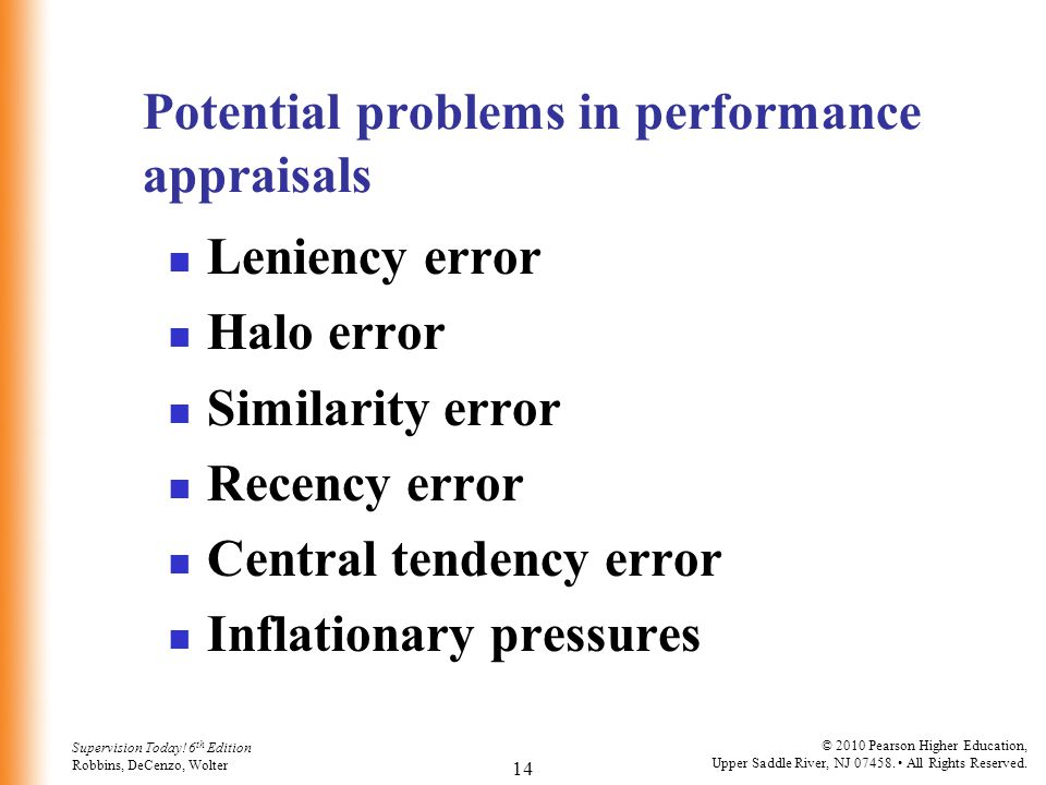 Potential problems in performance appraisals