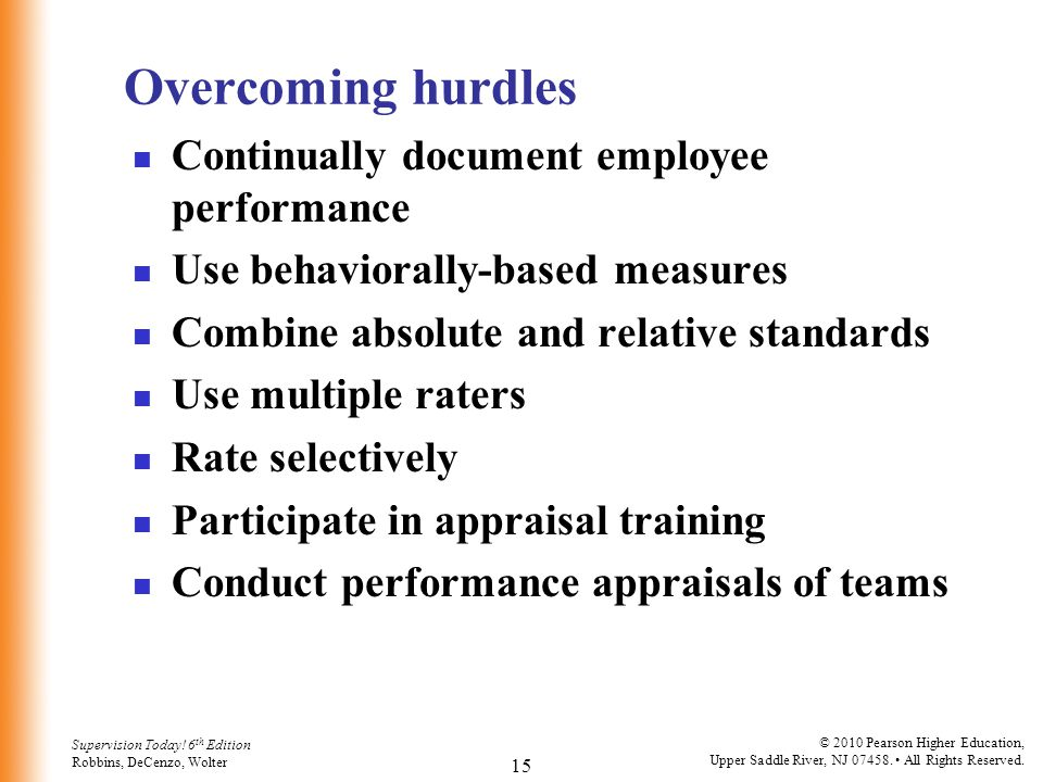 Overcoming hurdles Continually document employee performance