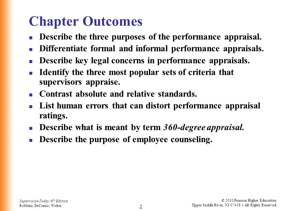 Chapter Outcomes Describe the three purposes of the performance appraisal. Differentiate formal and informal performance appraisals.