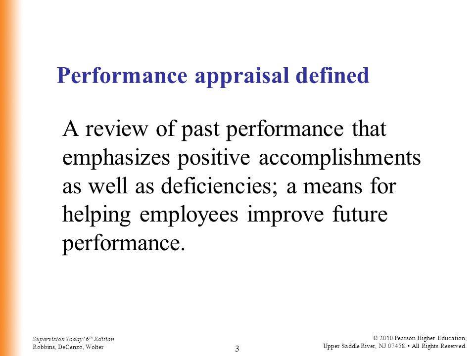 Performance appraisal defined