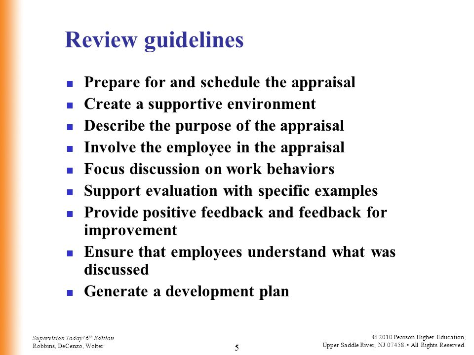 Review guidelines Prepare for and schedule the appraisal