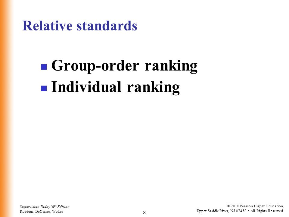 Relative standards Group-order ranking Individual ranking
