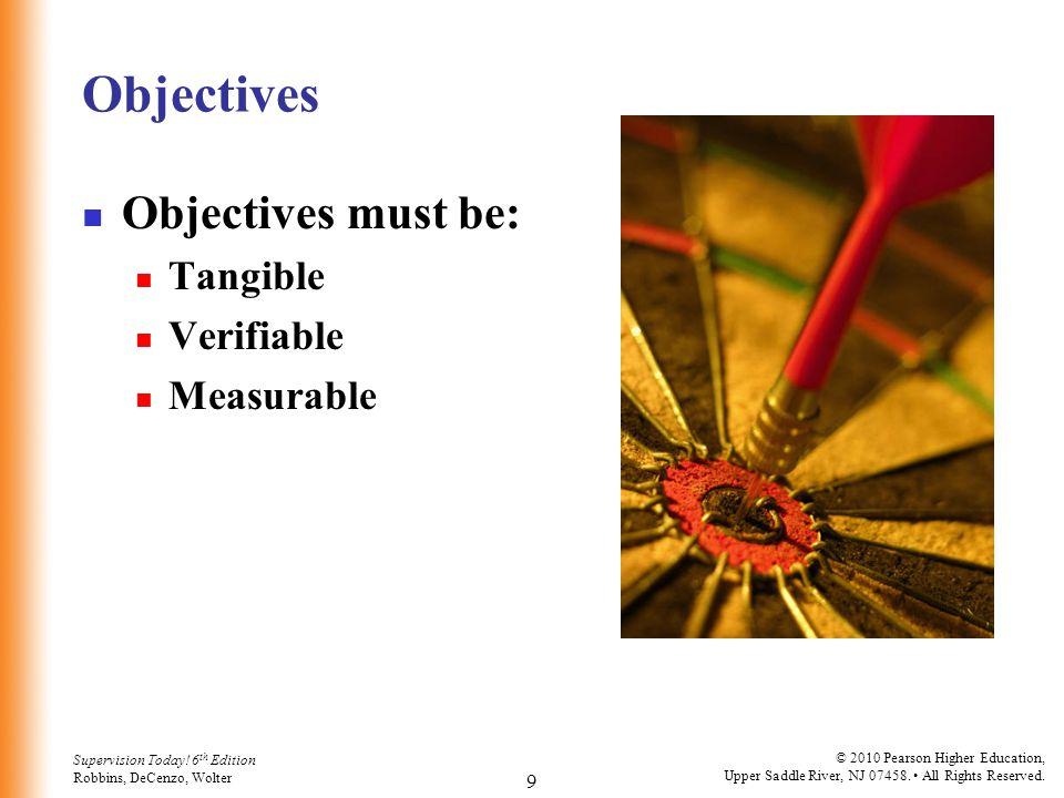 Objectives Objectives must be: Tangible Verifiable Measurable