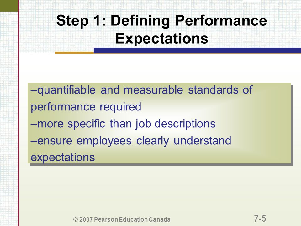 Step 1: Defining Performance Expectations