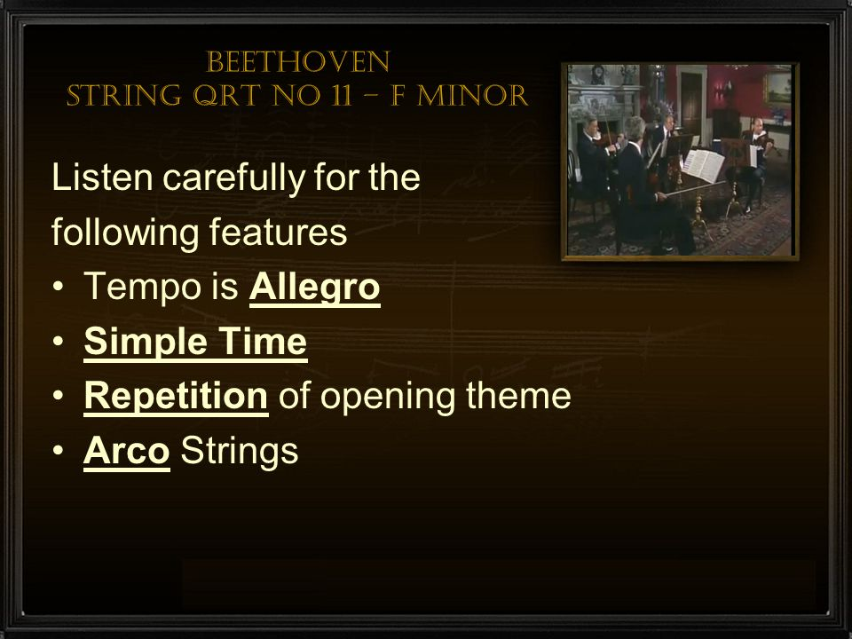 Beethoven String QRT No 11 – F minor