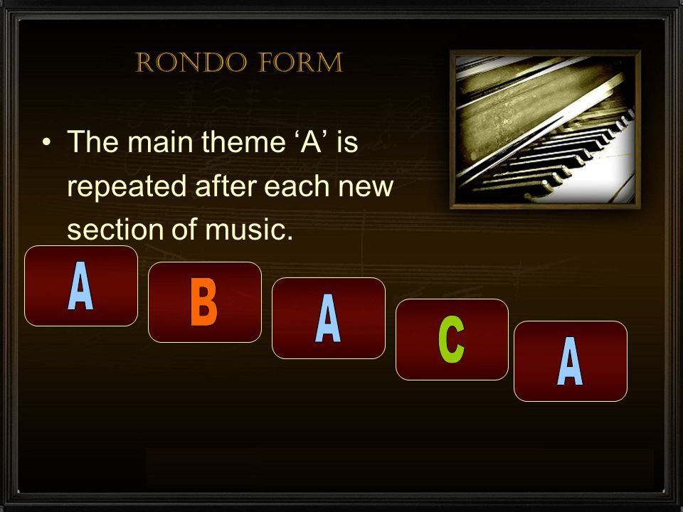 A B A C A The main theme 'A' is repeated after each new