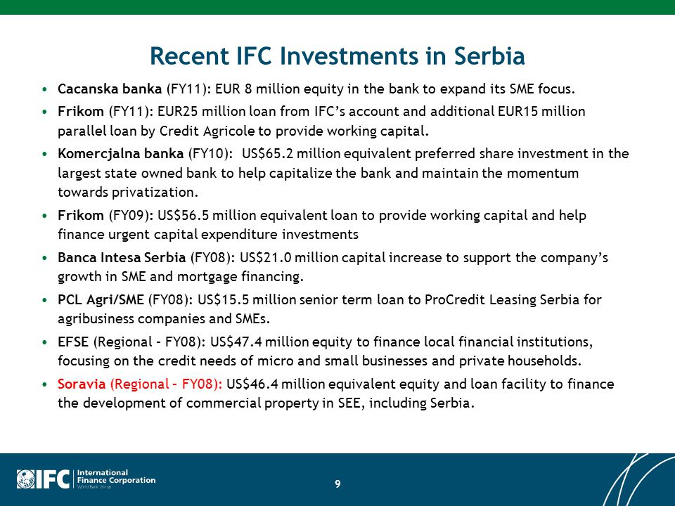 ifc investment officer serbian