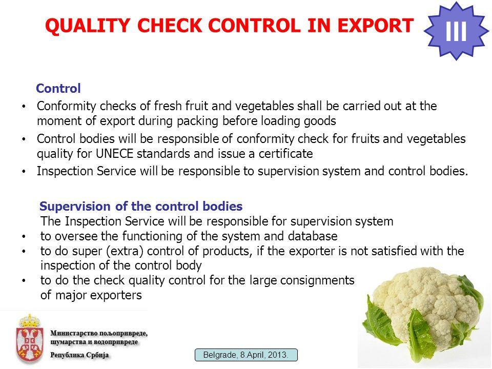 Implementation of OECD Scheme for Fresh Fruit and Vegetables