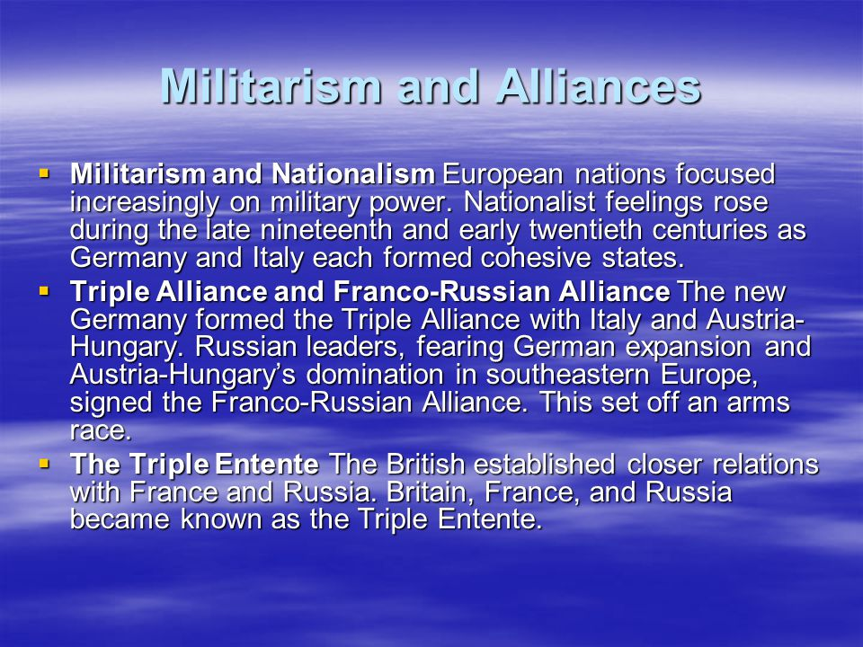 Militarism and Alliances