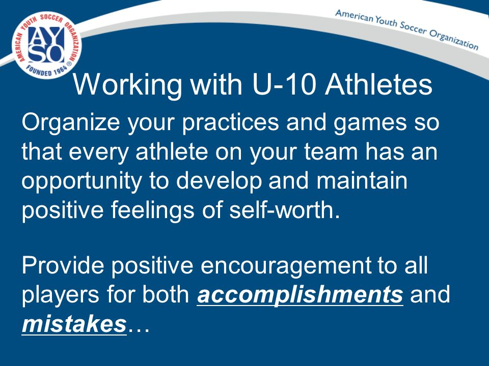 Working with U-10 Athletes