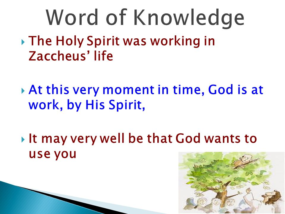 Word of Knowledge The Holy Spirit was working in Zaccheus' life