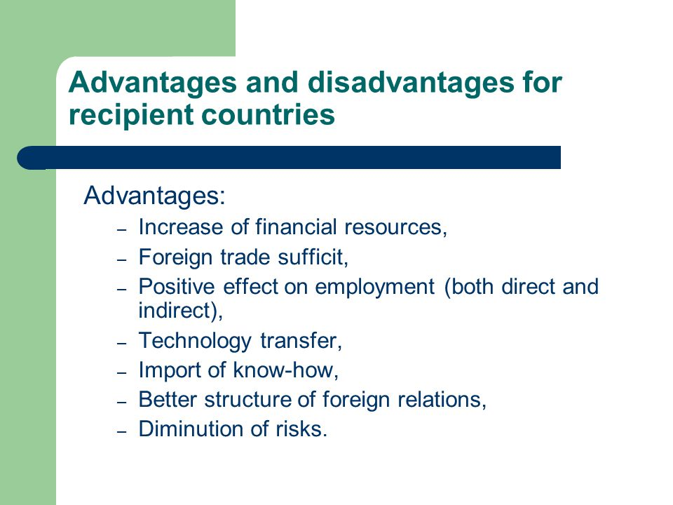 foreign direct investment advantages and disadvantages pdf