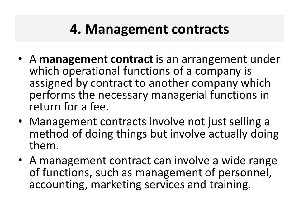 4. Management contracts