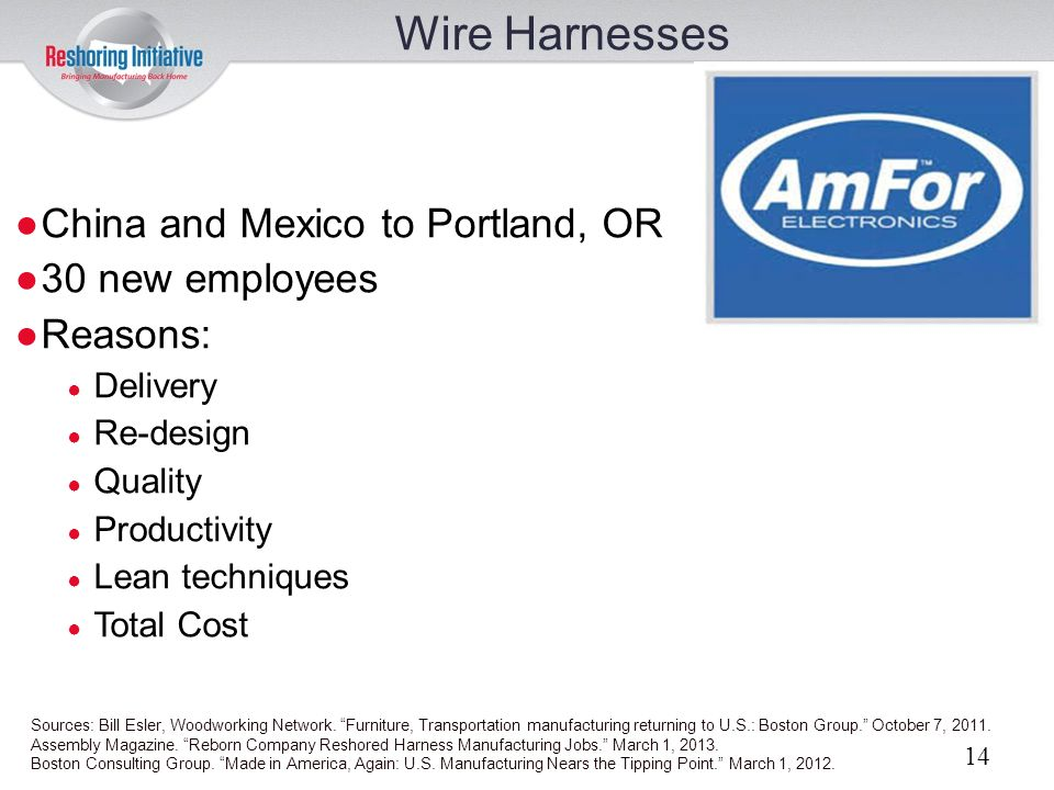 Wire Harnesses China and Mexico to Portland, OR 30 new employees