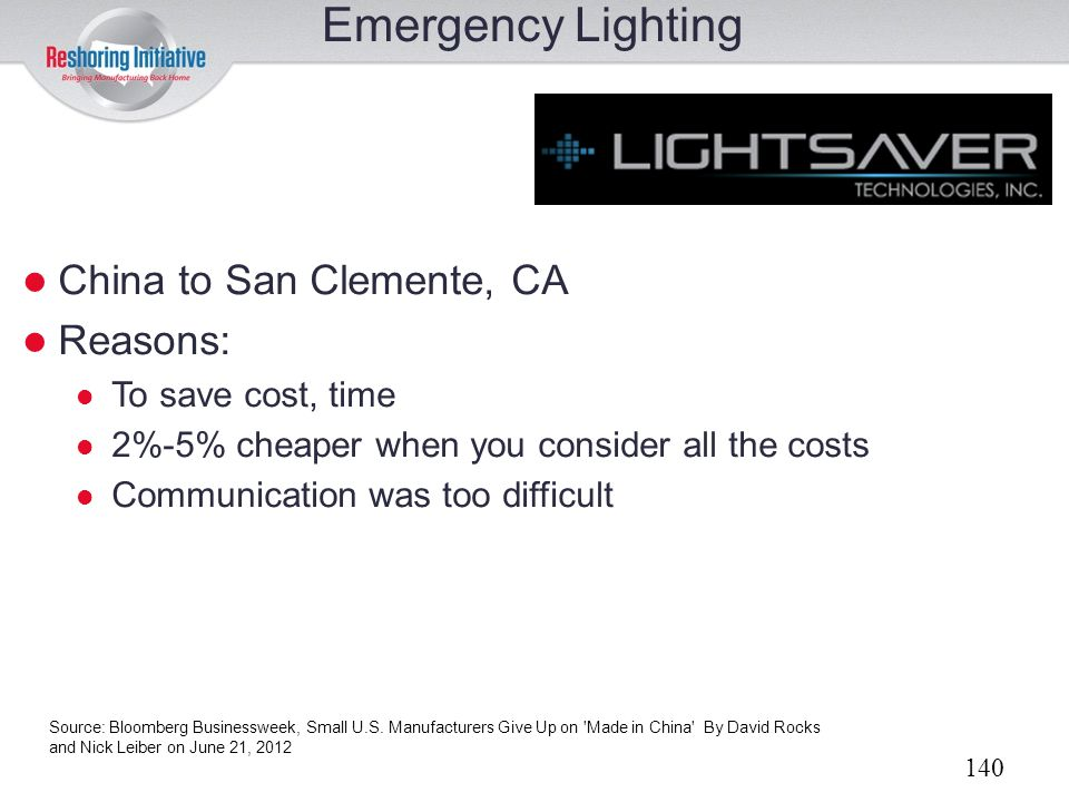 Emergency Lighting China to San Clemente, CA Reasons: