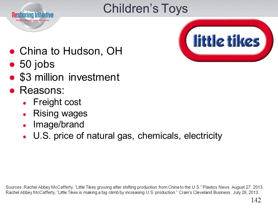 Children's Toys China to Hudson, OH 50 jobs $3 million investment