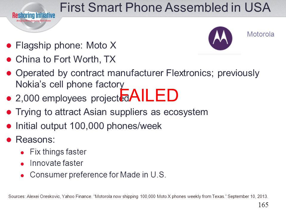 FAILED First Smart Phone Assembled in USA Flagship phone: Moto X