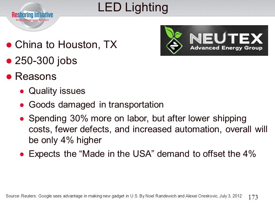 LED Lighting China to Houston, TX 250-300 jobs Reasons Quality issues