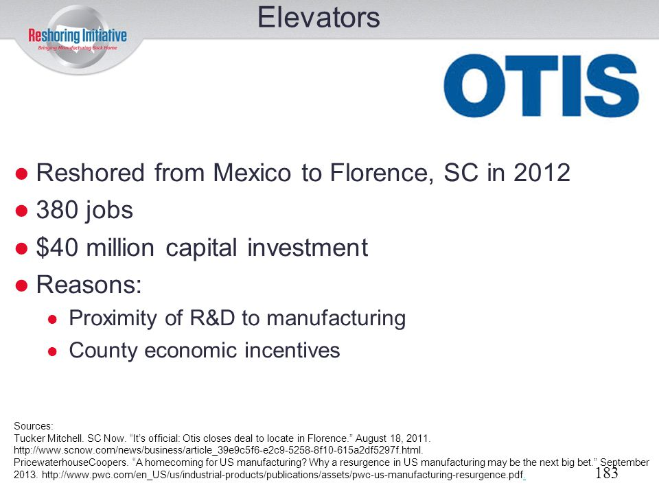 Elevators Reshored from Mexico to Florence, SC in 2012 380 jobs