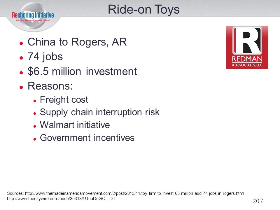 Ride-on Toys China to Rogers, AR 74 jobs $6.5 million investment