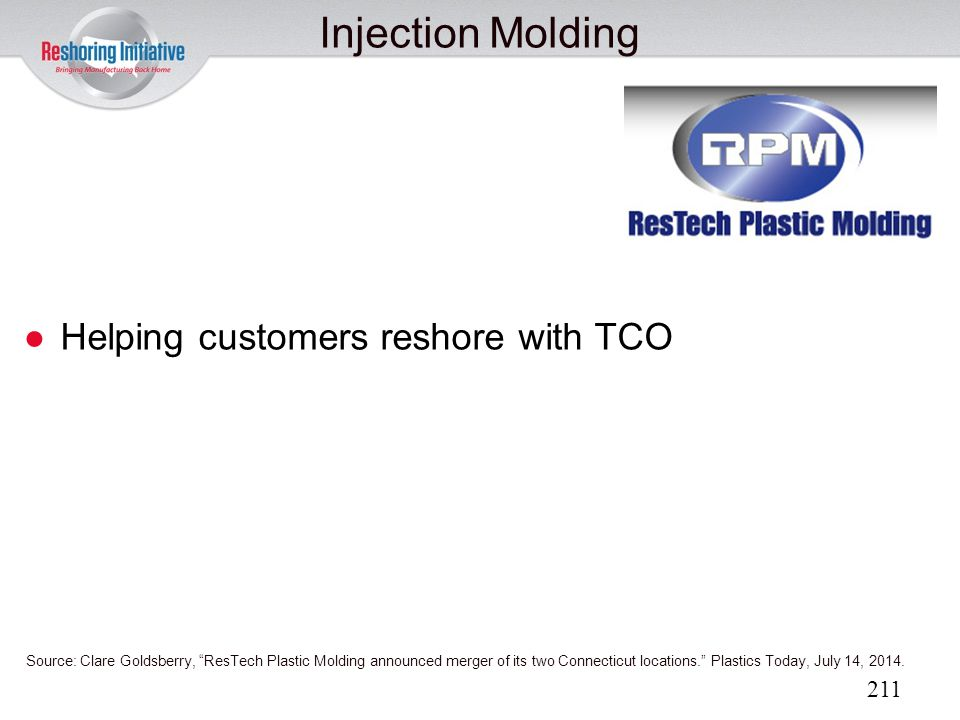 Injection Molding Helping customers reshore with TCO 211