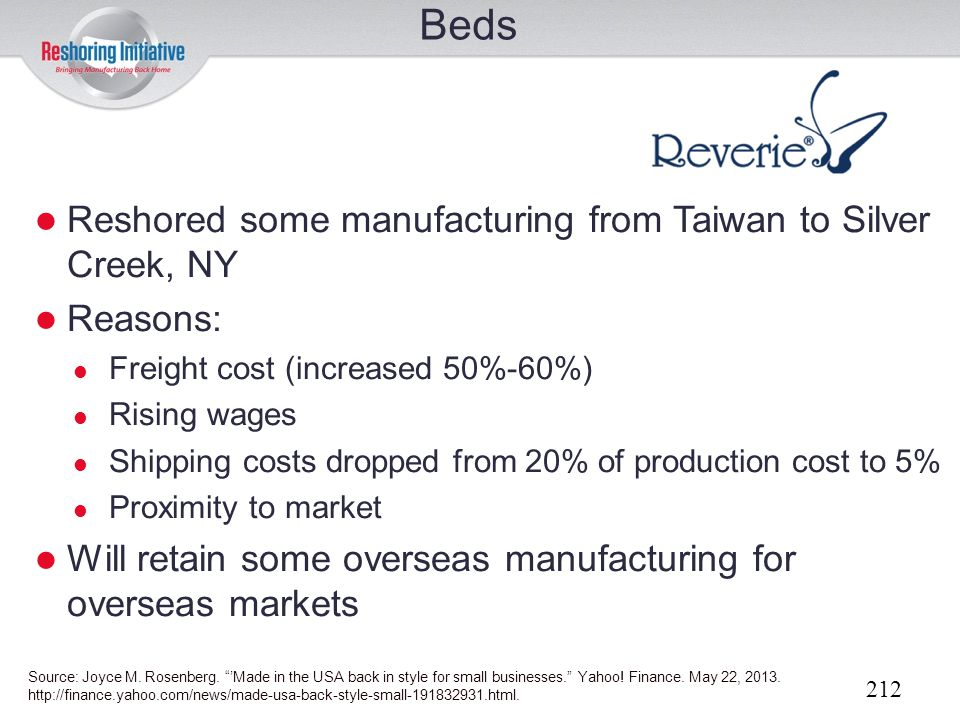 Beds Reshored some manufacturing from Taiwan to Silver Creek, NY