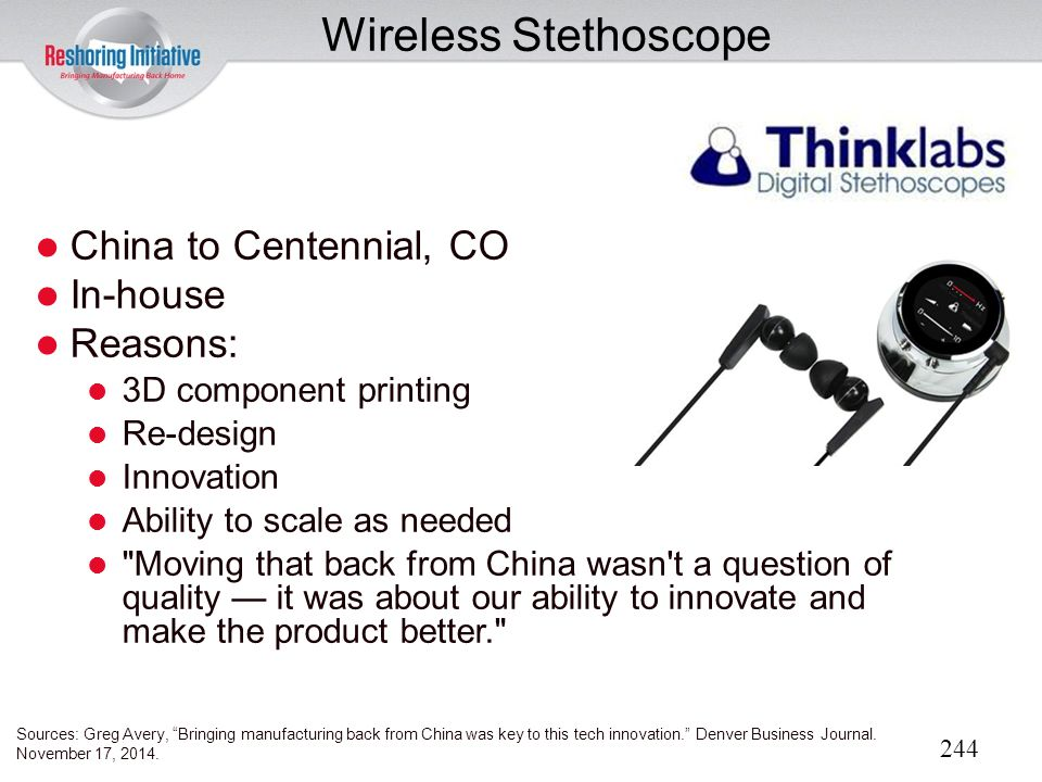 Wireless Stethoscope China to Centennial, CO In-house Reasons: