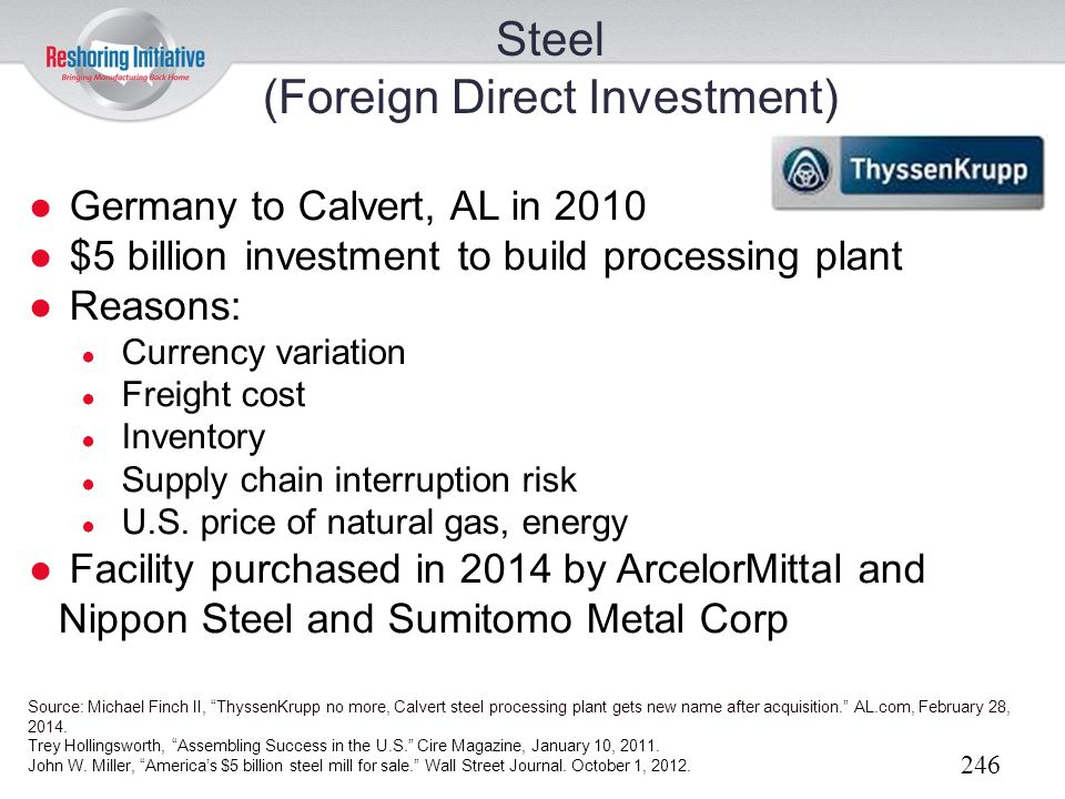Steel (Foreign Direct Investment)