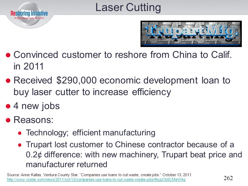 Laser Cutting Convinced customer to reshore from China to Calif. in 2011.