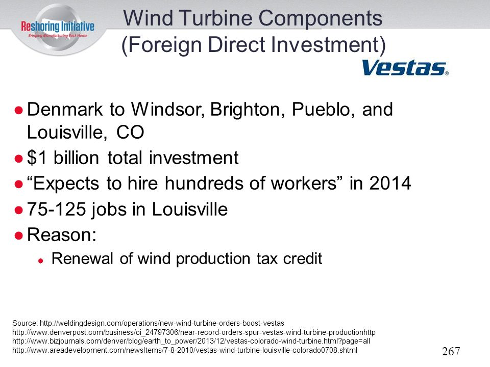 Wind Turbine Components (Foreign Direct Investment)