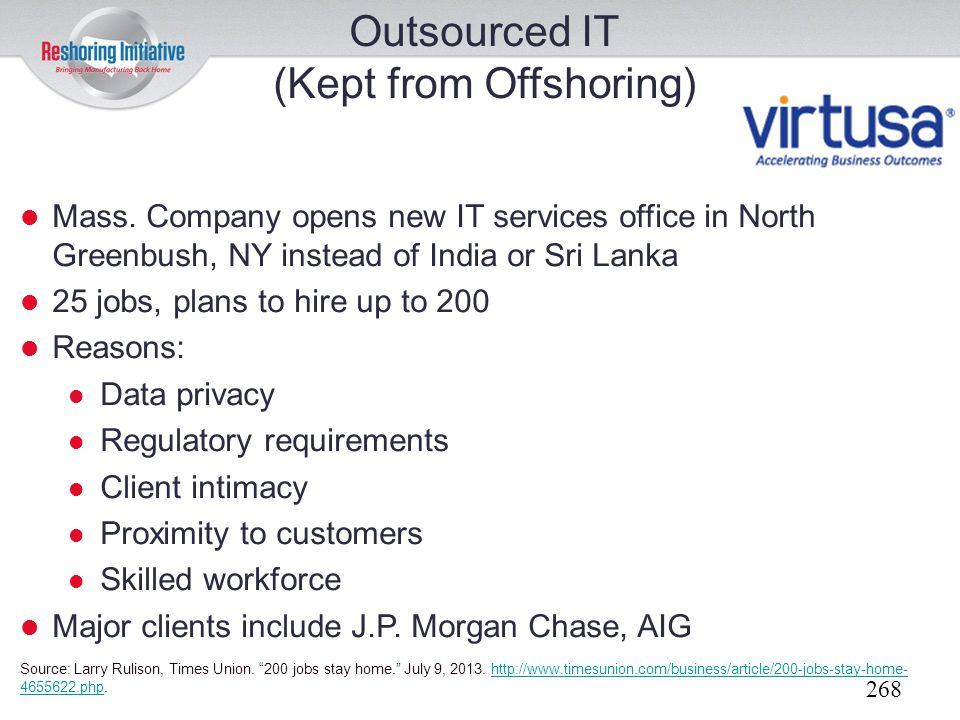 Outsourced IT (Kept from Offshoring)