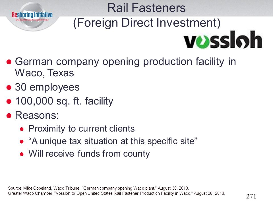 Rail Fasteners (Foreign Direct Investment)
