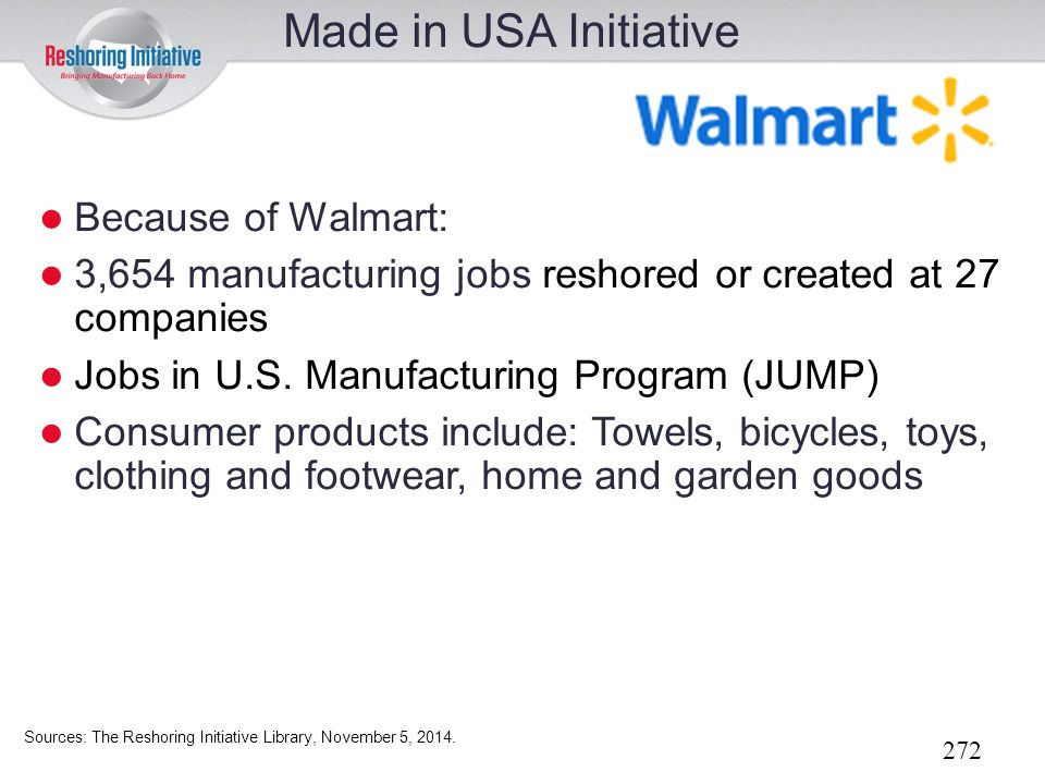 Made in USA Initiative Because of Walmart:
