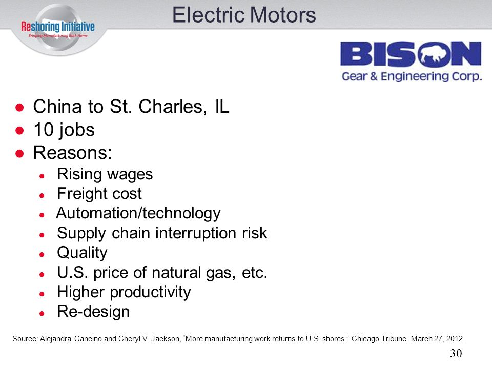 Electric Motors China to St. Charles, IL 10 jobs Reasons: Rising wages