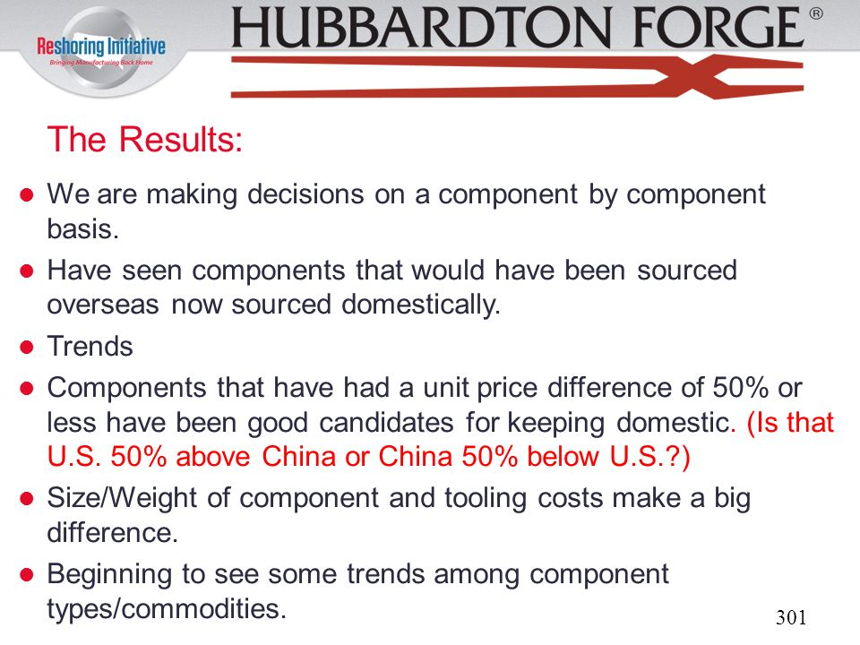 The Results: We are making decisions on a component by component basis.