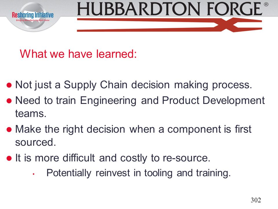 What we have learned: Not just a Supply Chain decision making process.