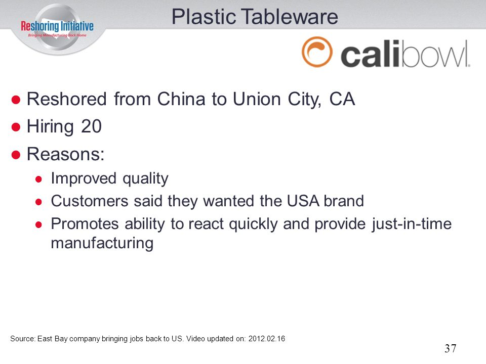 Plastic Tableware Reshored from China to Union City, CA Hiring 20