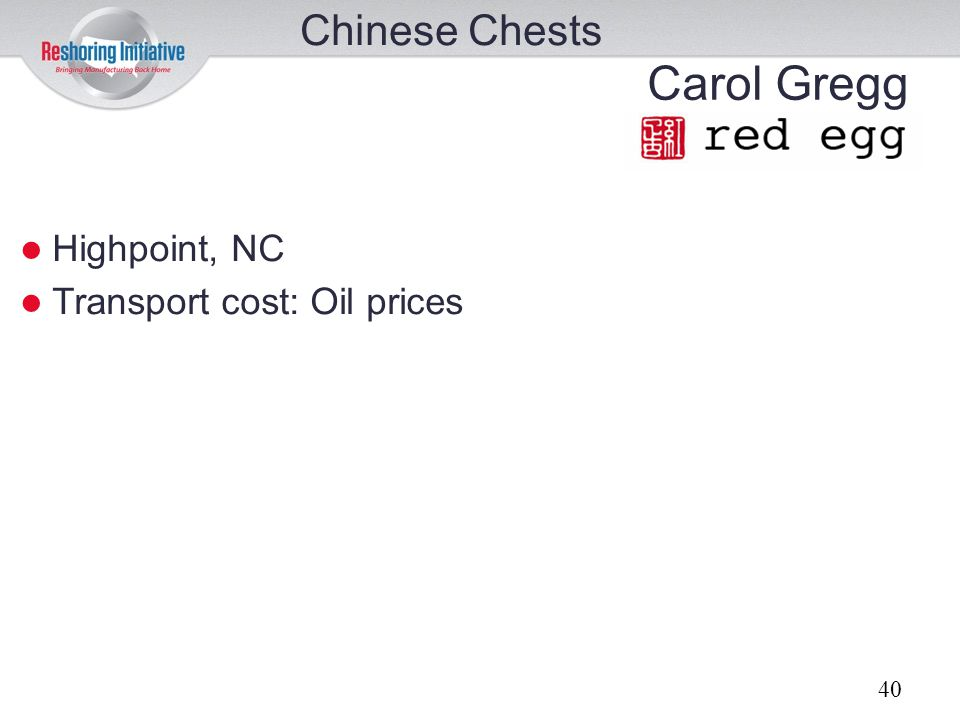 Chinese Chests Carol Gregg Highpoint, NC Transport cost: Oil prices 40