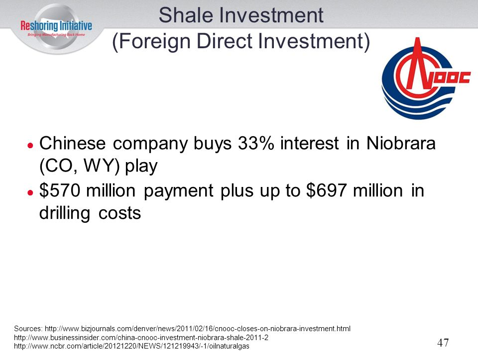 Shale Investment (Foreign Direct Investment)