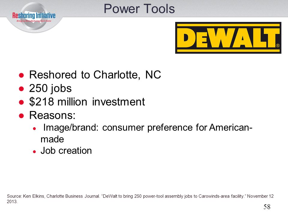 Power Tools Reshored to Charlotte, NC 250 jobs $218 million investment