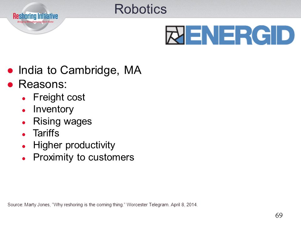 Robotics India to Cambridge, MA Reasons: Freight cost Inventory