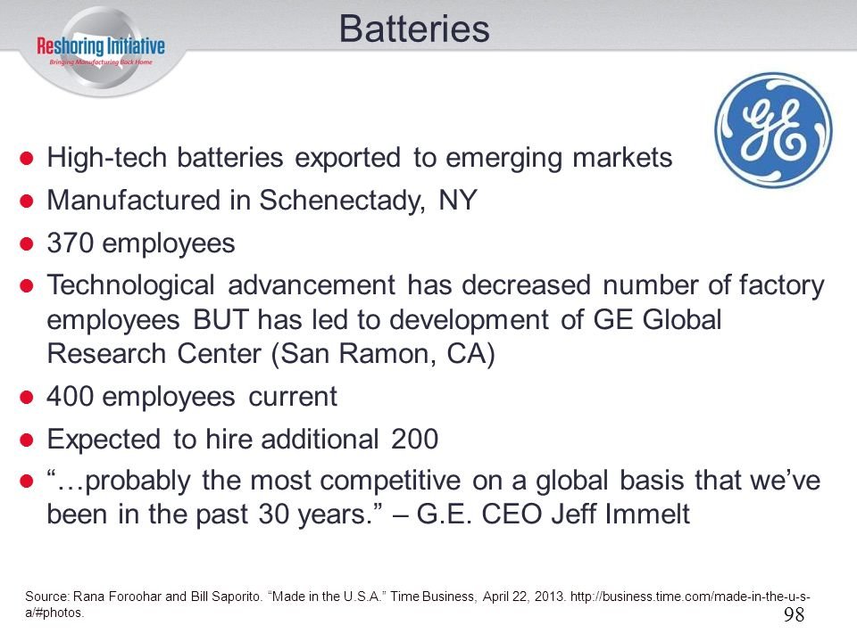 Batteries High-tech batteries exported to emerging markets