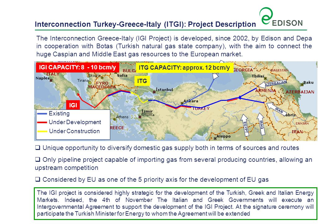 The interconnector greece italy igi project ppt download interconnection turkey greece italy itgi project description gumiabroncs Images