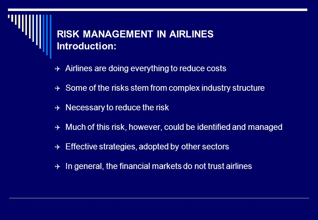 risk management in airline industry ppt