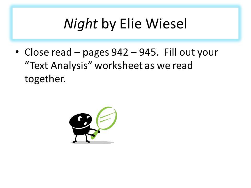 Printable Worksheets night elie wiesel worksheets : English II April 22nd – 26th. - ppt download