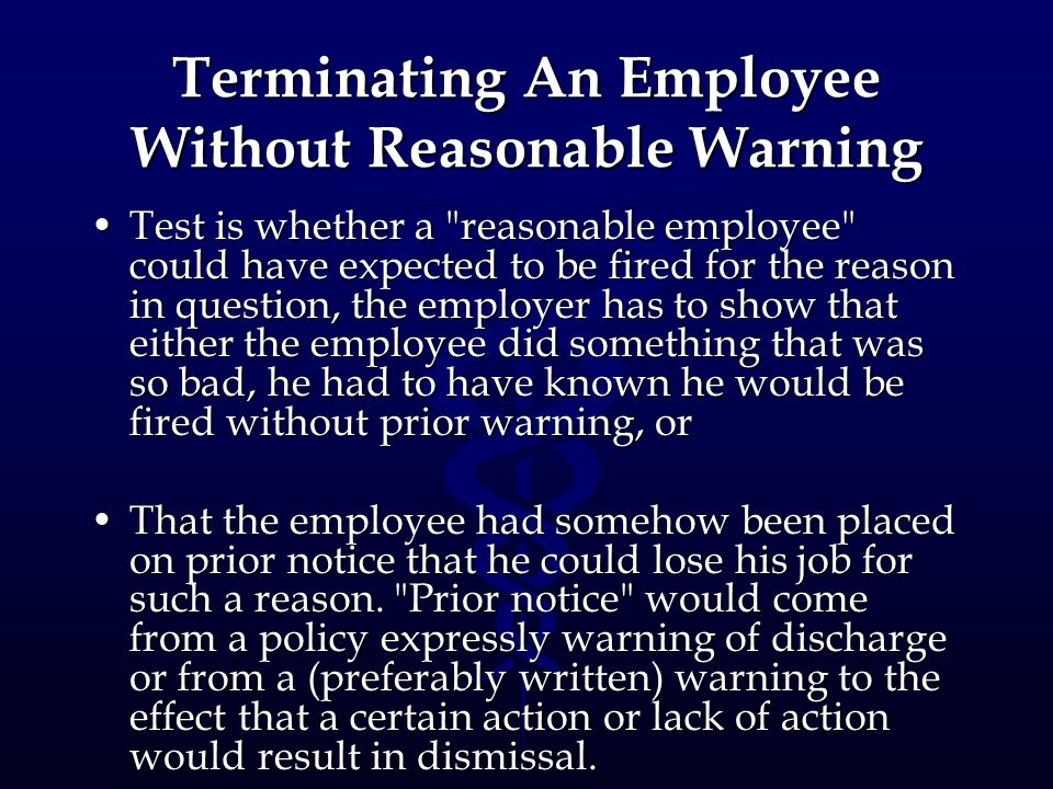 Terminating An Employee Without Reasonable Warning
